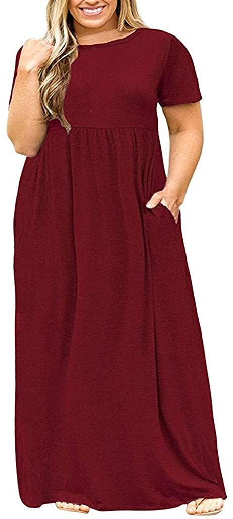 Plus Size Dress for Women Loose O Neck Short Sleeve Solid Casual Maxi Dresses with Side Pocket