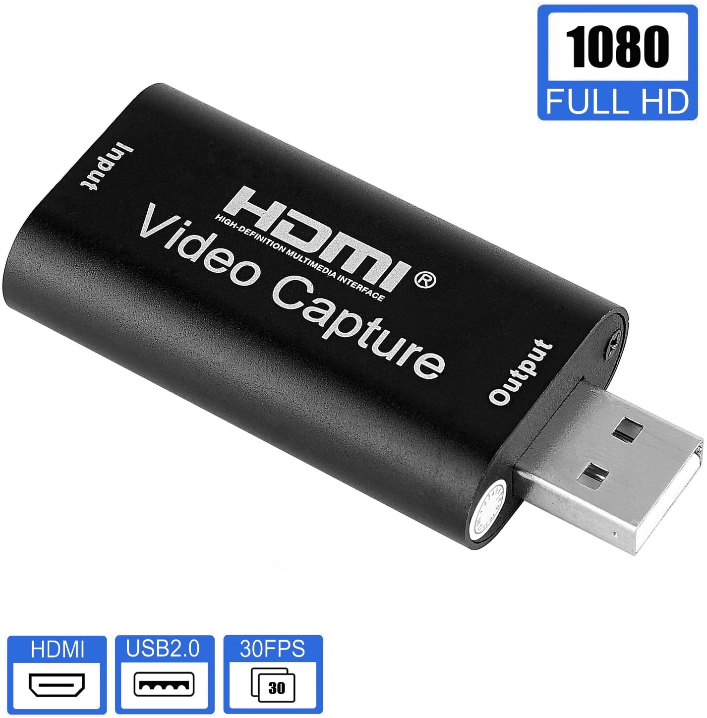 AreMe Audio Video Capture Cards, HDMI to USB2.0 1080p Video Recorder Device Support Cameras Phones PS3 PS4 Xbox Switch Wii U Etc