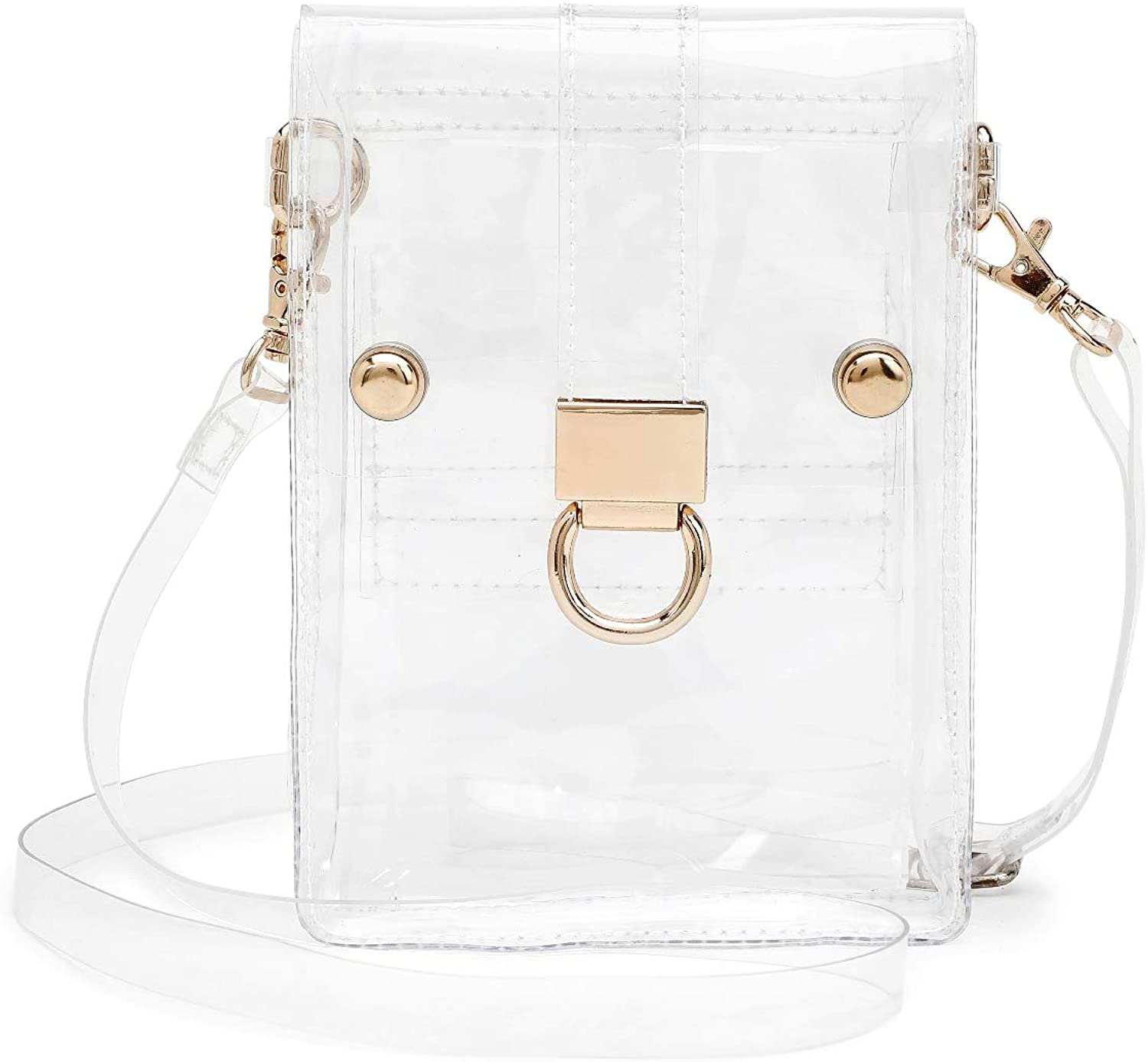 SharPlus Clear Crossbody Bag Purse for Women, Stadium Approved Plastic Transparent Bag Cell Phone Case Pouch Handbag for NFL & PGA Sporting Events, Concerts, Prom, Work & School