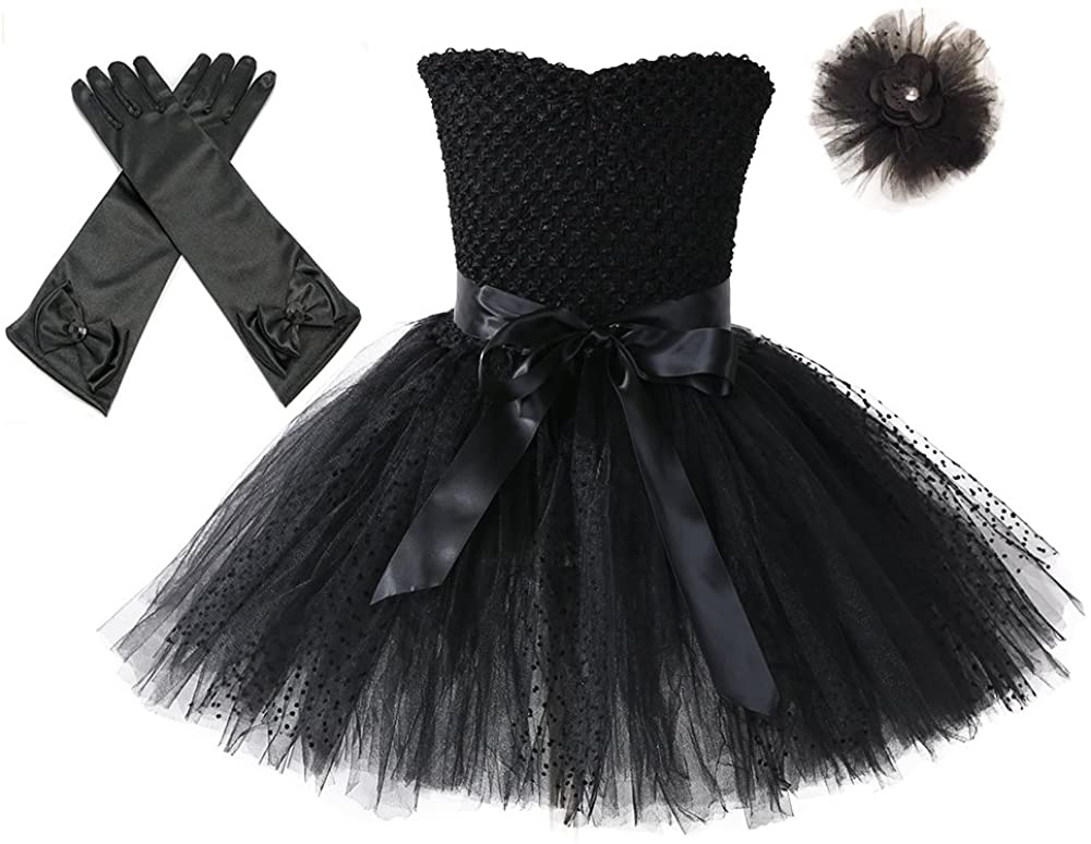 Tutu Dreams 80s Costumes for Girls Halloween Star Dress Up Outfits Pageant Birthday Halloween Party (Black, XL)