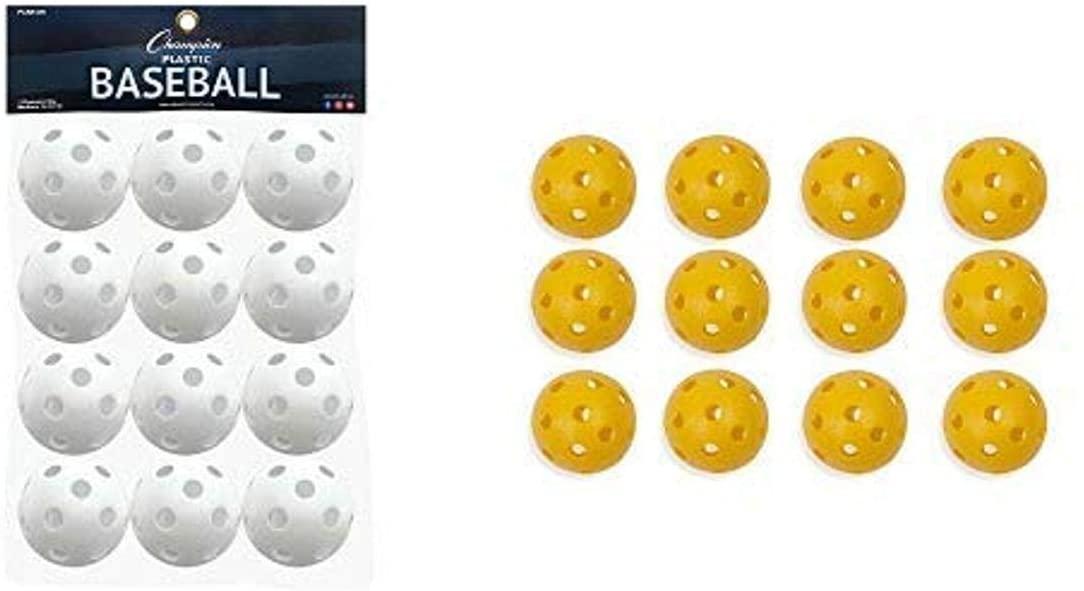 Champion Sports White Plastic Baseballs: Hollow Balls for Sport Practice or Play - 12 Pack Plastic Baseball, Yellow - One Dozen (12)
