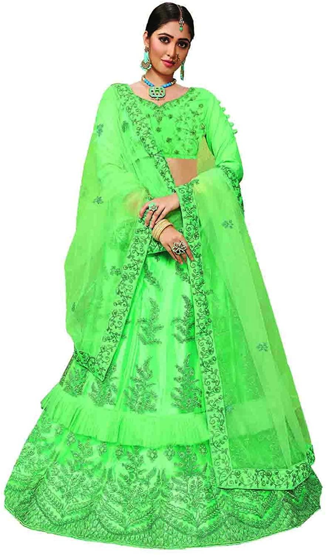 Indian Women Designer Partywear Ethnic Traditional Green Lehenga Choli.ICW2797-2