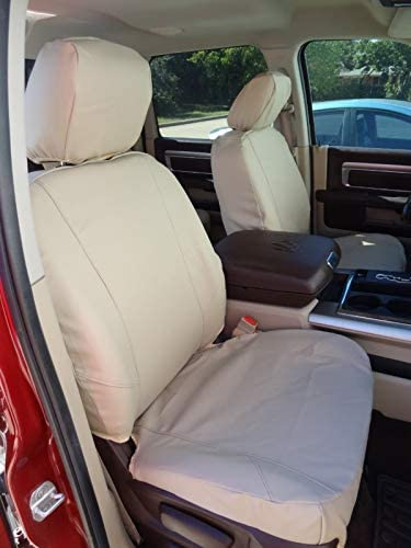 Durafit Seat Covers, D1343/D1339 L2, Front and Back Seat Covers Made in Beige Leatherette for 2012-2018 Dodge Ram Front Buckets and 60/40 Rear.