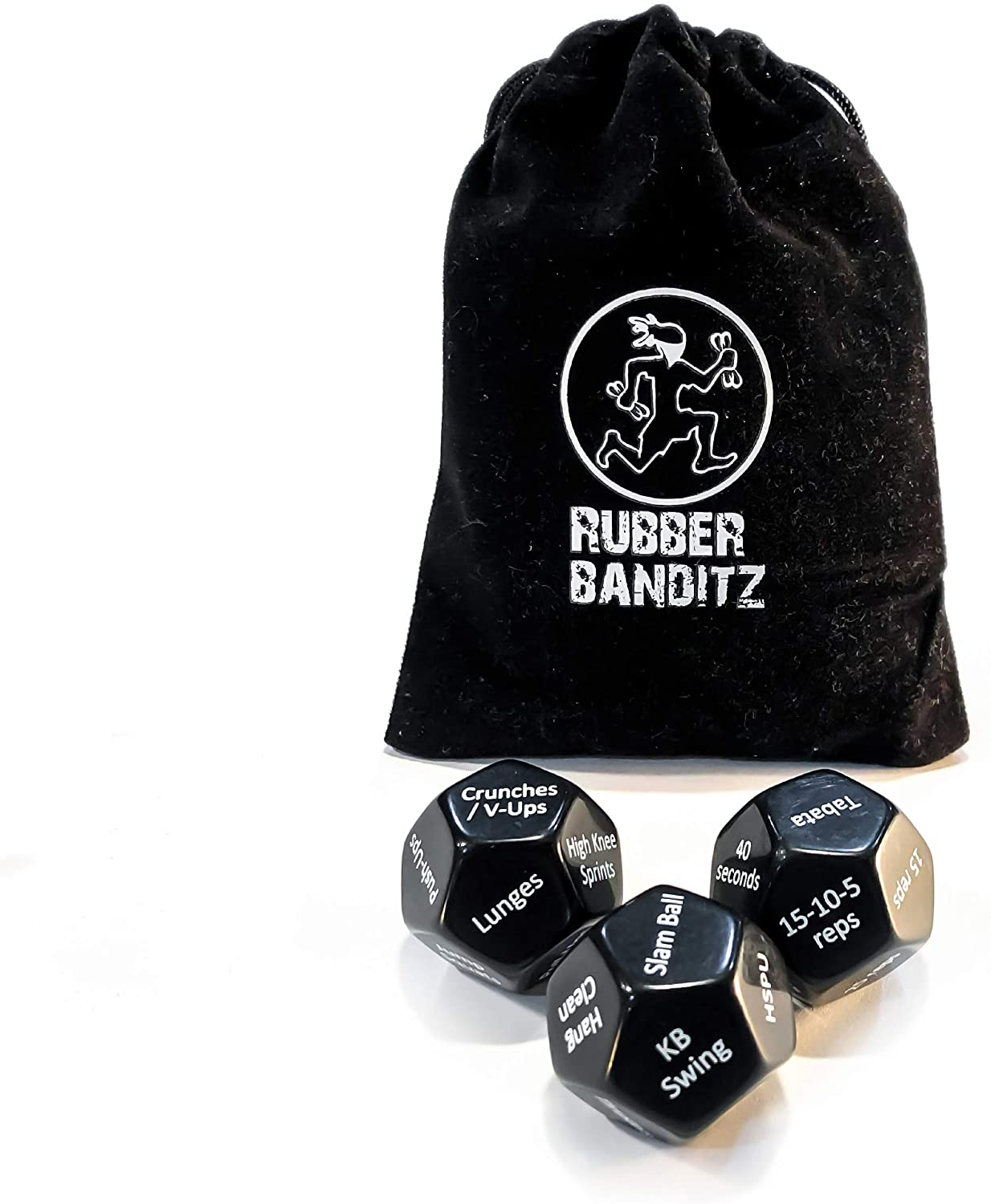 Rubberbanditz Exercise Dice for Workouts - Full Body Fitness & Workout on Demand Game for Adults and Kids (Set of 3 12-Sided dice)