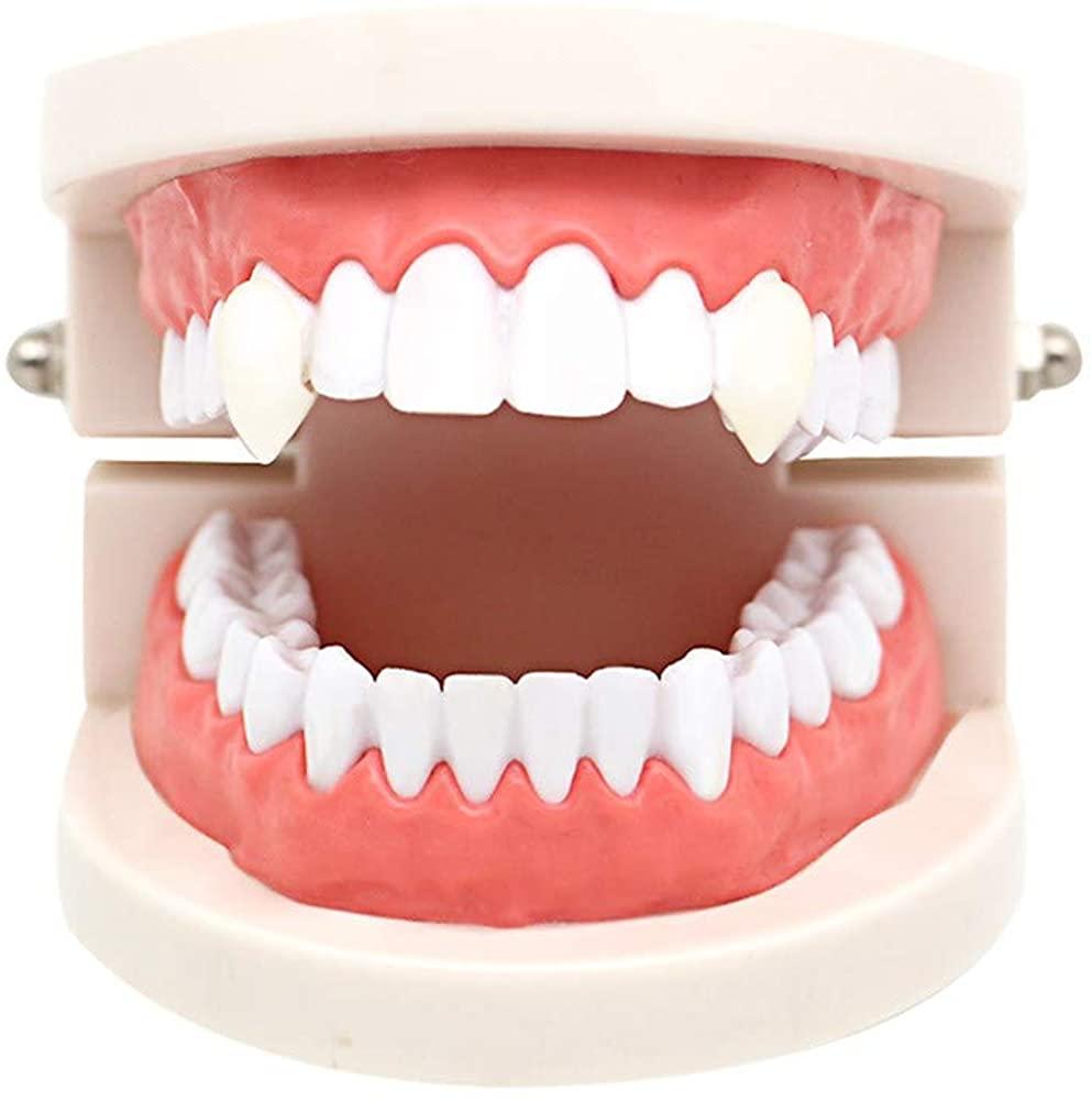 Duona Cosplay Accessories13mm Vampire Teeth Dentures Halloween Party Props Fangs White