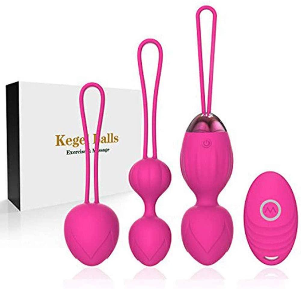 Silicone Wireless Remote Control Massager Remote Kegel, Safe Silicone Remote Kegel Balls, Silicone Bladder Control Devices, Kegel Exercise Weights Massage Ball Ben Wa Balls Kegel Women