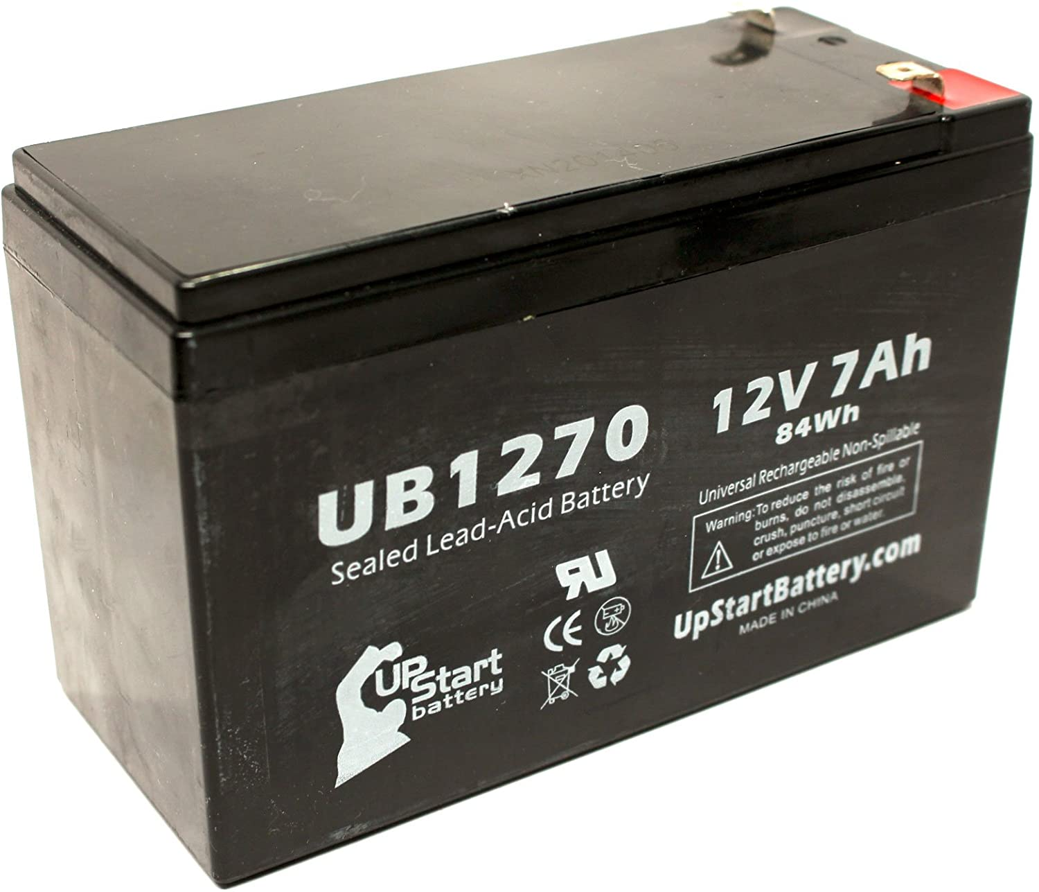 Replacement for Bruno Electra-Ride Elite Battery - Replacement UB1270 Universal Sealed Lead Acid Battery (12V, 7Ah, 7000mAh, F1 Terminal, AGM, SLA) - Includes Two F1 to F2 Terminal Adapters
