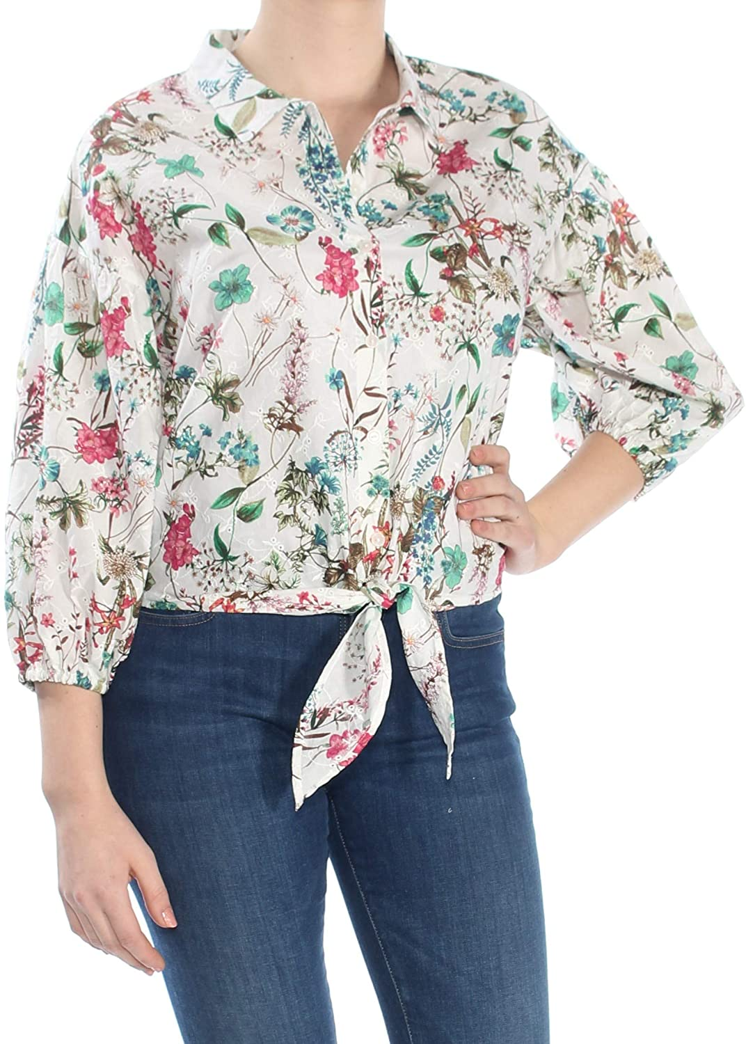 Sanctuary Womens Ivory Floral 3/4 Sleeve Collared Button Up Top Size M