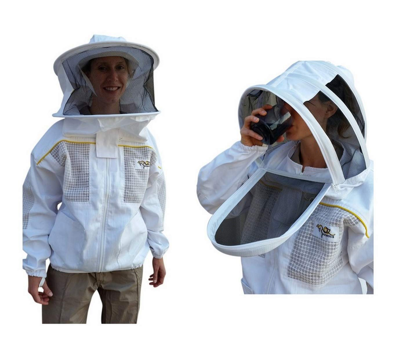 OZ ARMOUR Ventilated Poly Cotton Jacket Extra Cool Beekeeper Costume Kit with 2 Hoods Fencing/Folding & Round Brim Hat (X-Large)