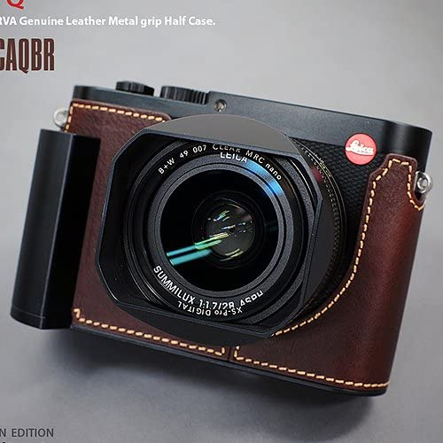 LIM'S Metal Grip Genuine Leather Camera Half Case LE-HCLCAQBR (Brown) for Leica Q(Typ 116)