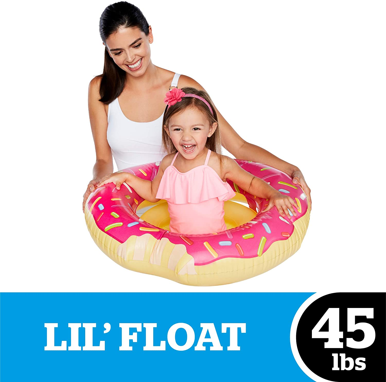 BigMouth Inc Sprinkles of Fun Pink Donut Lil' Water Float - Pool Float for Infants and Kids Ages 1-3, Perfect for Beginner Swimmers, Easy to Inflate and Durable