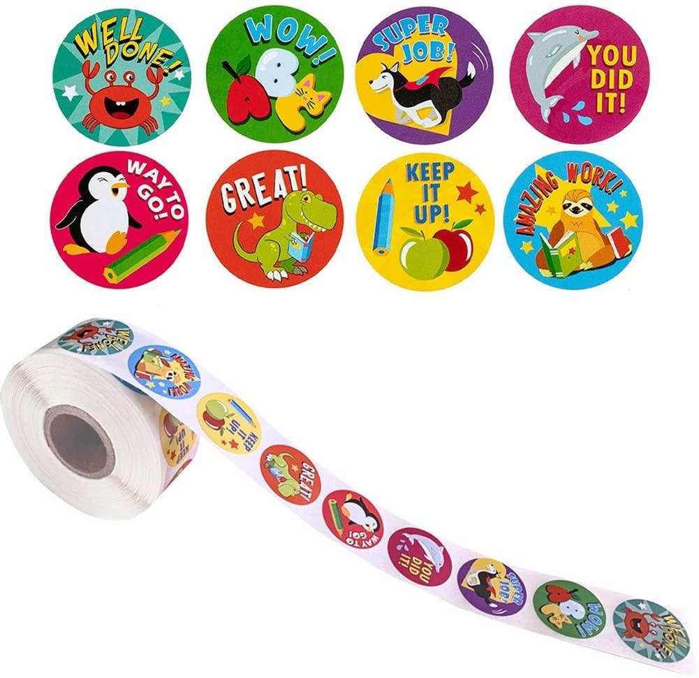 Yantu Cartoon Animal Reward Stickers 500 Pcs Per Roll for Teacher Classroom Motivational Sticker Encouragement Behavior Incentive Stickers for Children Students Scrapbooking Birthday Gift for Boys Girls