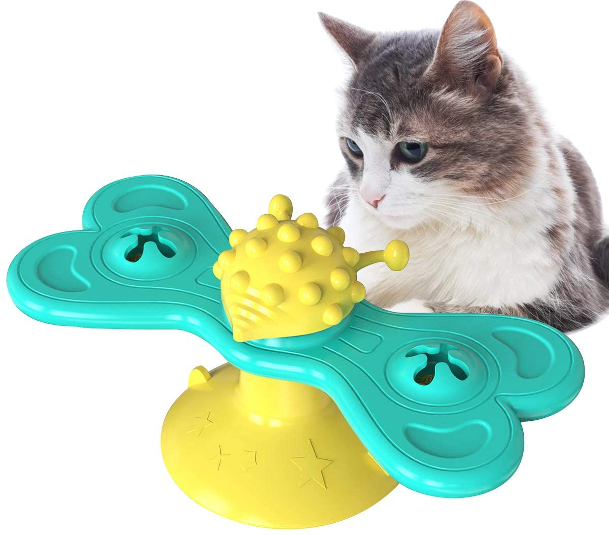 TANG-CN Windmill Cat Toy with Catnip, Non-Toxic Rubber Cat Interactive Toothbrush Chew Toy, Multi-Functional Turntable Kitten Toy for Massage Scratching Tickle Hair Brush Safe Reduces Boredom