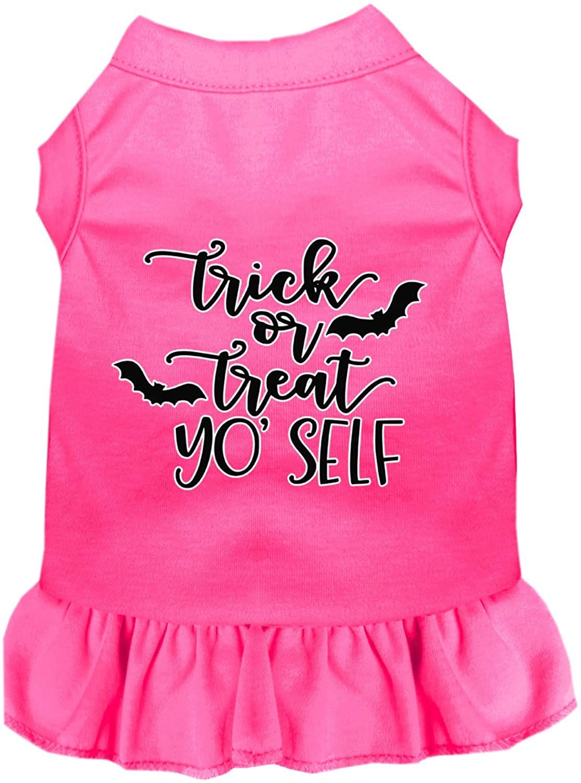 Mirage Pet Product Trick or Treat Yo' Self Screen Print Dog Dress Bright Pink XXL
