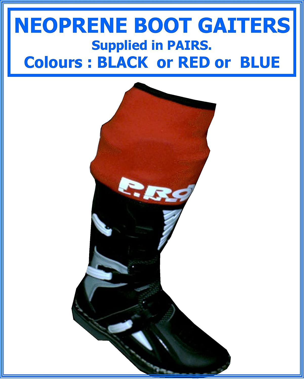 Proline Neoprene Boot Gaiters , Fits Motocross-Enduro-Trials Boots , Supplied In Pairs , Colour Red