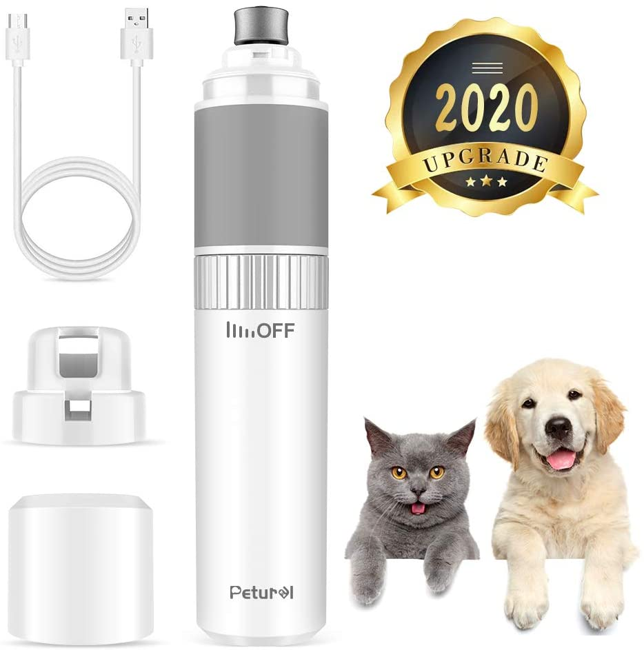 Petural Pet Nail Grinder Stepless Speed - Professional and Electric Dog Nail Grinder Grooming Trimming Smoothing for Small, Medium and Large Pets - Comfortable and Noiseless with 20h Working Time