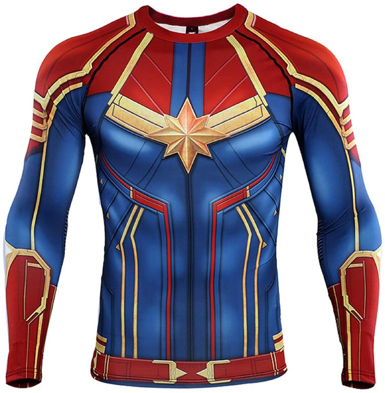COOLMAX Captain 3D Print T shirs Men's Compression Shirt Raglan Sleeve Long Sleeve Tops