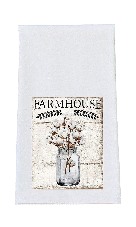 Farmhouse Cotton Mason Jar Print - Kitchen Tea Towel - Farmhouse Decor