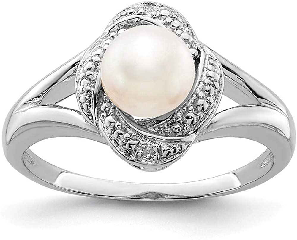 Solid 925 Sterling Silver Diamond and Freshwater Cultured Pearl Engagement Ring (.01 cttw.)
