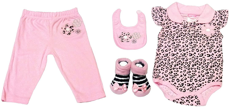 Baby Girls Cheetah 5 Piece Set 0-3 Months (Onesie,Pants,Socks,Bib,Headband)