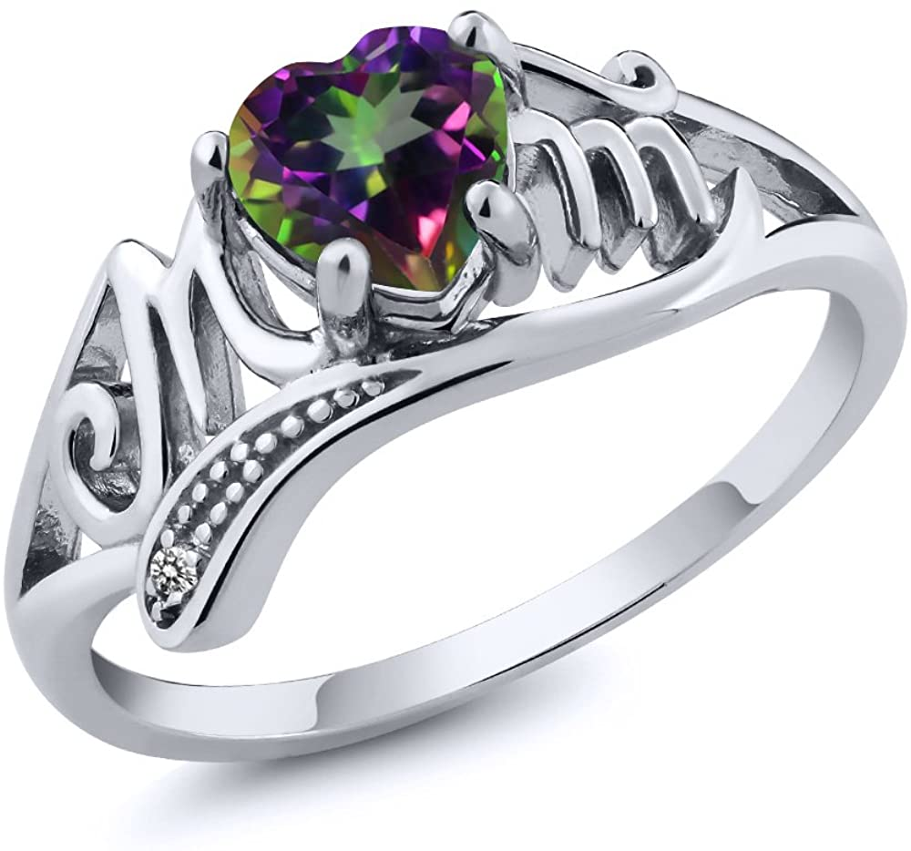 Gem Stone King 0.96 Ct Heart Shape Green Mystic Topaz White Diamond 925 Sterling Silver Ring