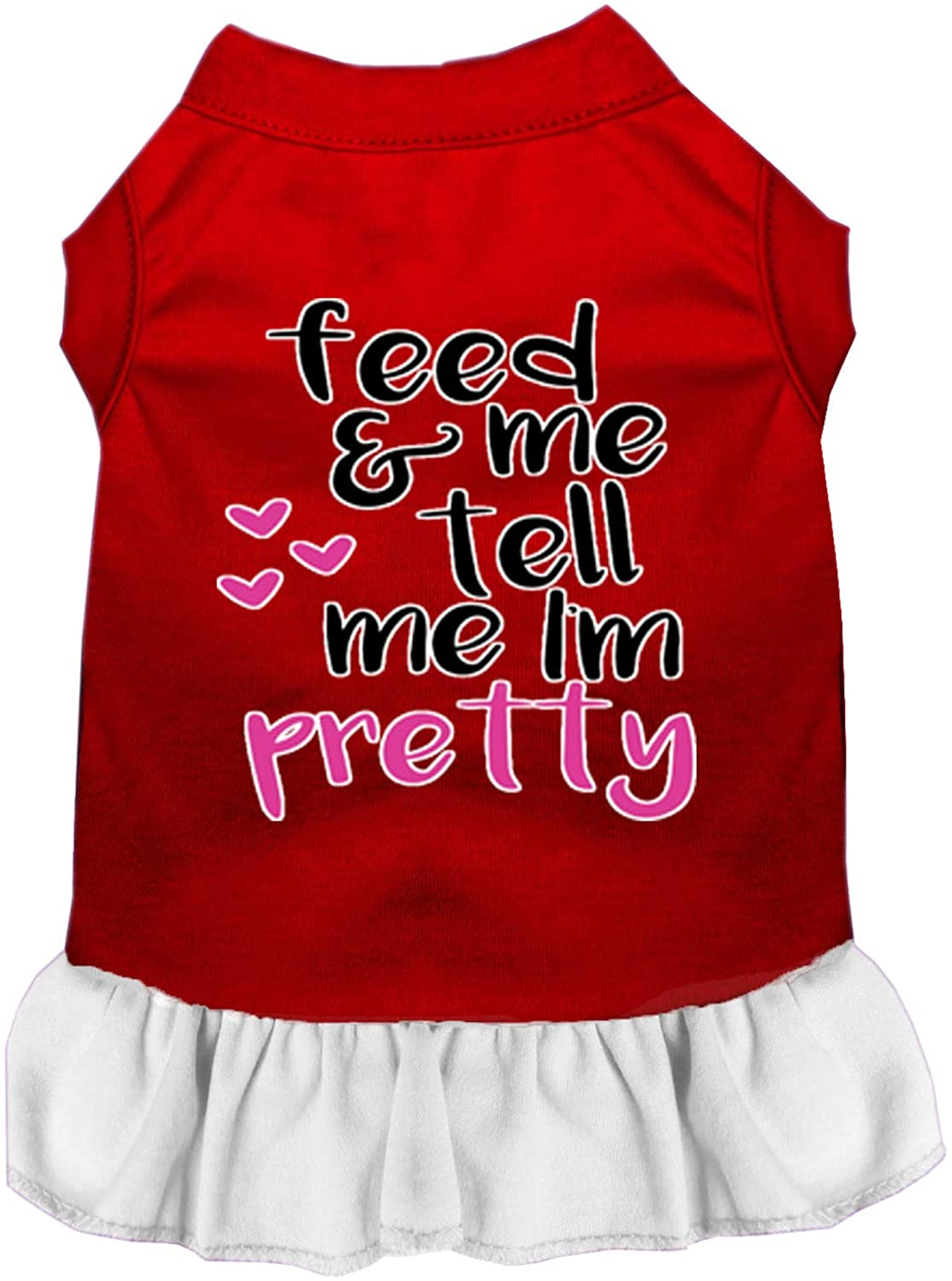 Mirage Pet Product Tell me I'm Pretty Screen Print Dog Dress Red with White Med (12)