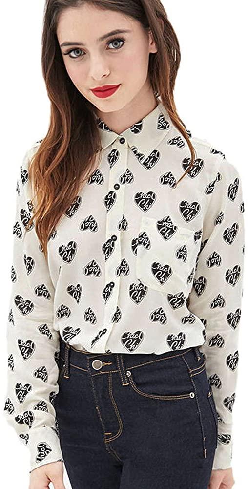 Mlotus Ladies Retro Heart Print Chiffon Blouse Long Sleeve Button Down Shirts