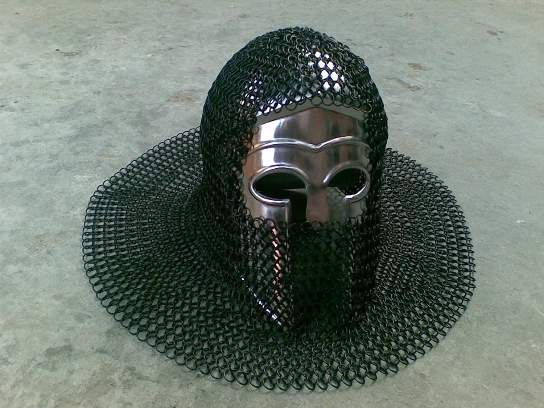 NauticalMart Greek Corinthian Brass Armor Helmet with Black Chainmail
