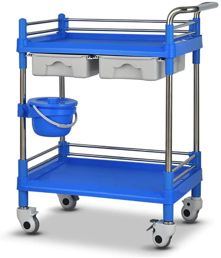 PLLP Hospital Trolley, Medical Supplies Rack,Medical Cart Tool Mobile Beauty Salon Rolling Trolley with Drawer Dirt Bucket, Portable 2 Tier Blue Medical Utility Cart with Caster Brake,L64.5×44.5×90cm