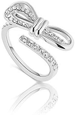 LUNALUCE S925 Ribbon Zirconia Adjustable Size Silver Ring