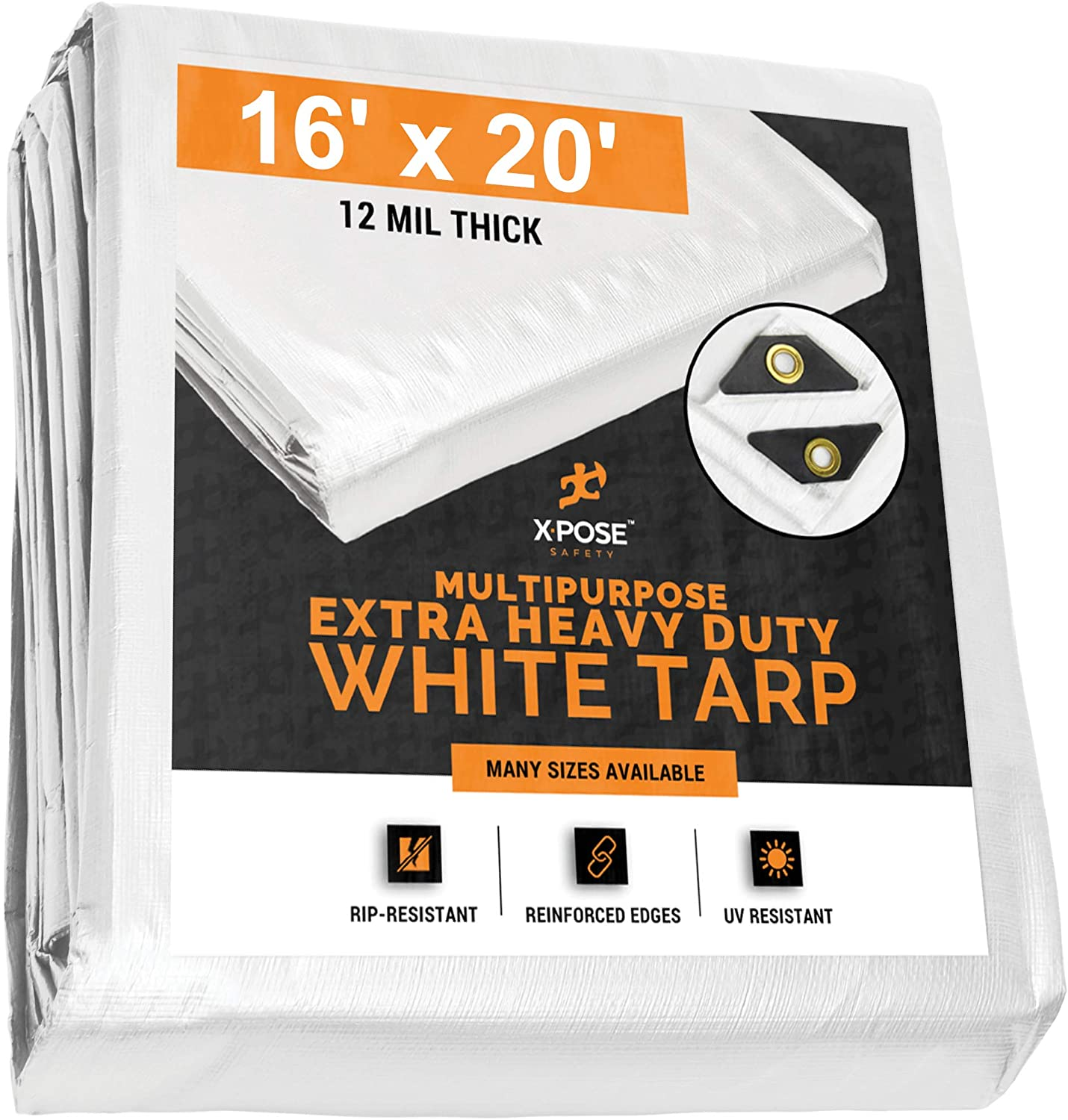 Heavy Duty White Poly Tarp 16' x 20' Multipurpose Protective Cover - Durable, Waterproof, Weather Proof, Rip and Tear Resistant - Extra Thick 12 Mil Polyethylene - by Xpose Safety