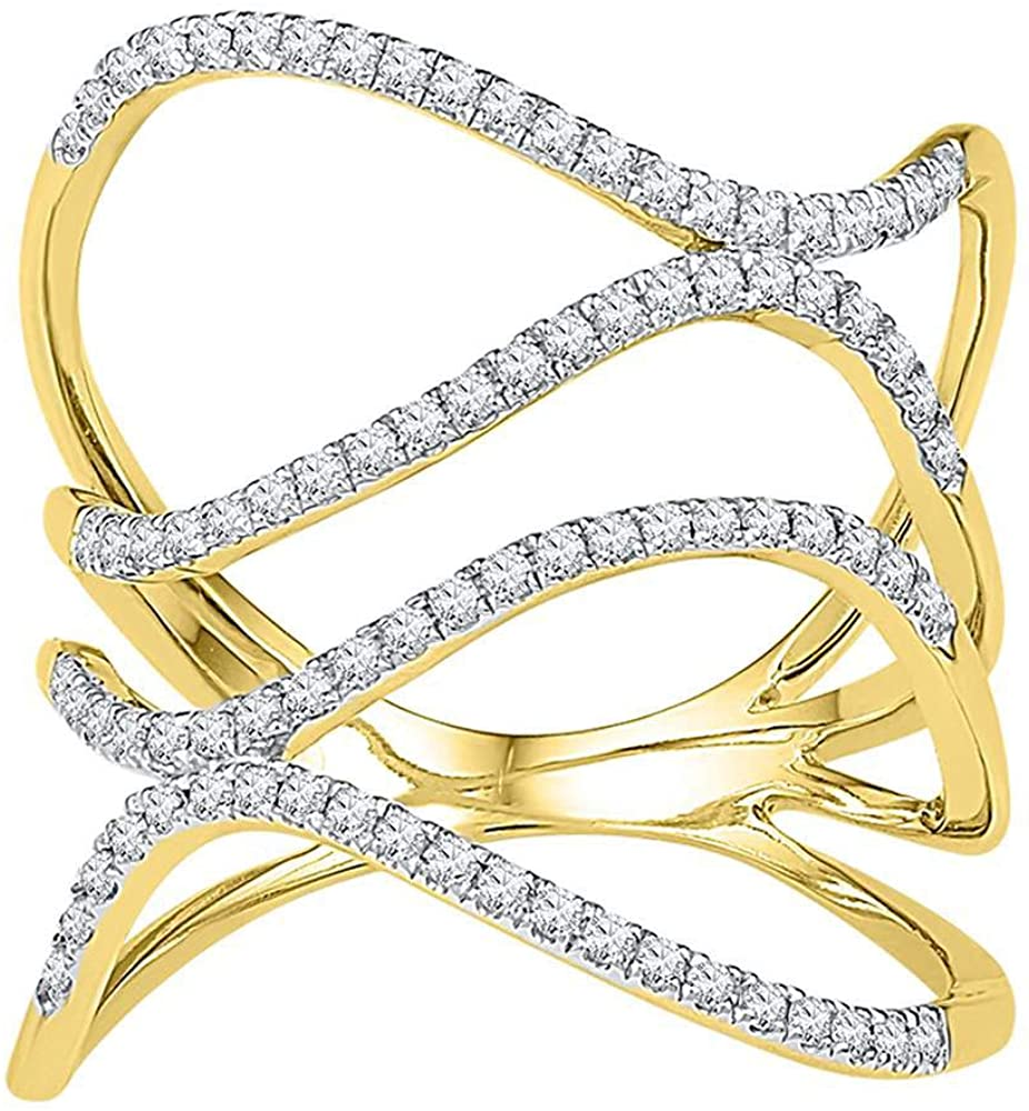 Dazzlingrock Collection 10kt Yellow Gold Womens Round Diamond Freeform Statement Fashion Ring 3/8 Cttw