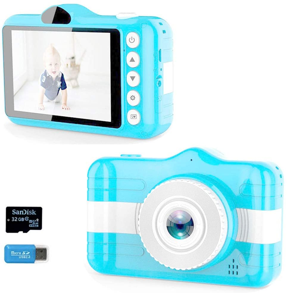 MEMOVAN Kids Camera Children Digital Camera Toy Camera Gifts for Kid Boys Girls 3-12 Year Old 3.5 Inch Large Screen Rechargeable Child Selfie Camera Camcorder with 32GB TF Card and Card Reader (Blue)
