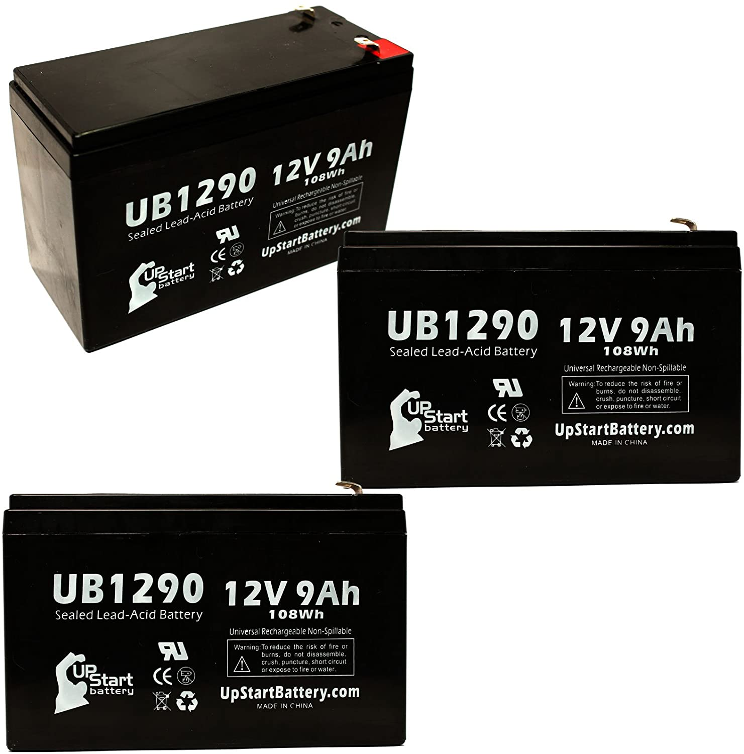 3 Pack Replacement for Emergi-lite 12JSM36 Battery - Replacement UB1290 Universal Sealed Lead Acid Battery (12V, 9Ah, 9000mAh, F1 Terminal, AGM, SLA) - Includes 6 F1 to F2 Terminal Adapters