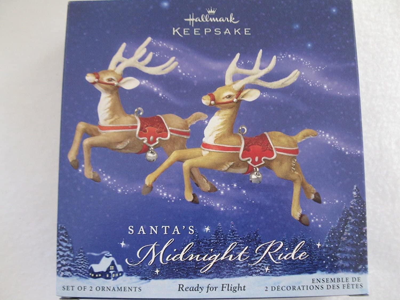 Hallmark Keepsake Santa's Midnight Ride Ready for Flight Reindeer with Red Tack Ornament