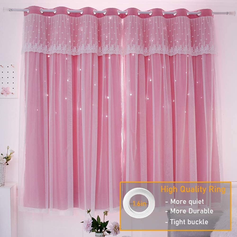 SUOUO Star Blackout Curtains for Kids Girls Bedroom Living Room Cut Out Tulle Overlay Window Curtain (Pink, W52 x L84 inch,1panel)