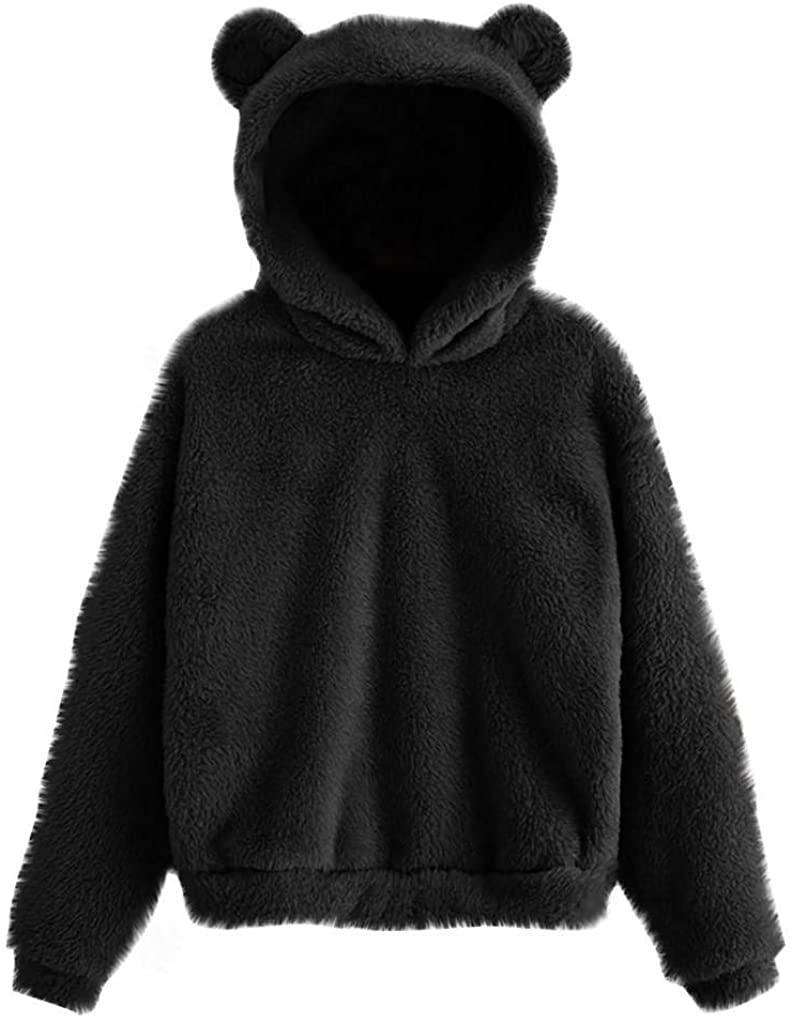 terbklf Women's Hoodies Long Sleeve Bear Ear Teddy Hooded Fleece Sweatshirt Coat Hooded Pullover for Women Plus Size