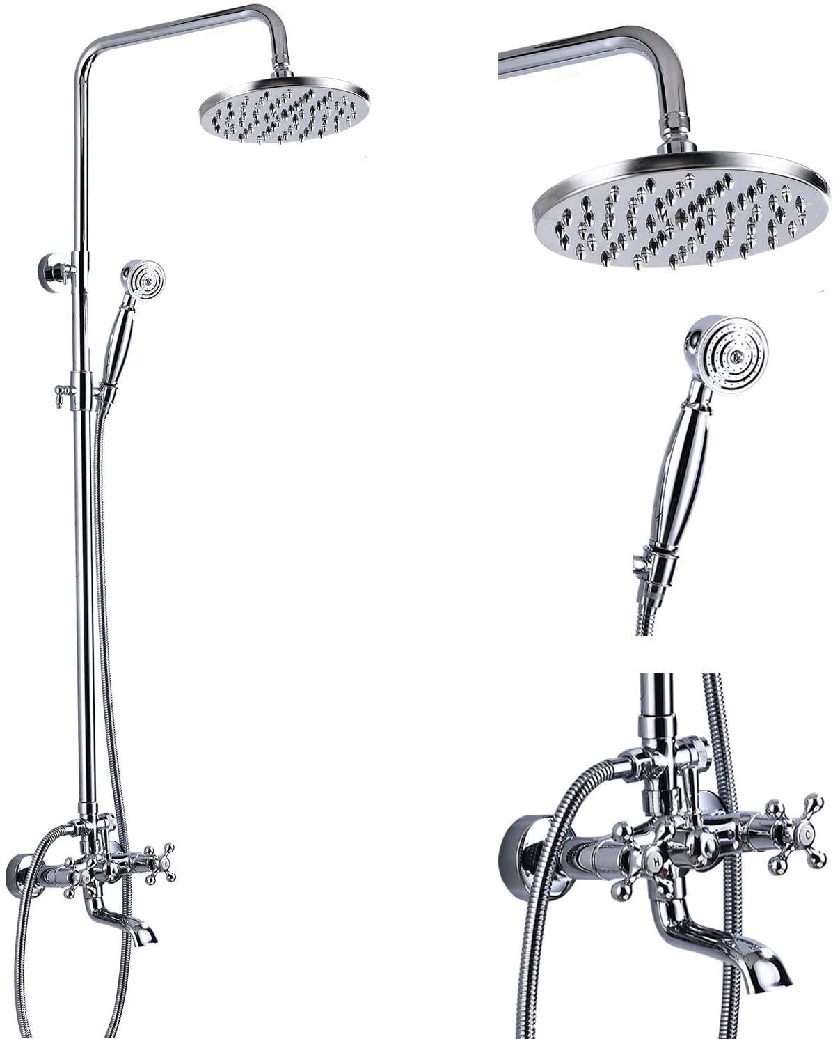 Shower Faucet Set 8 Rain Shower 2 Double Knobs Handle Chrome Polish Triple Function Tub Spout Shower Fixture Combo System Unit Set