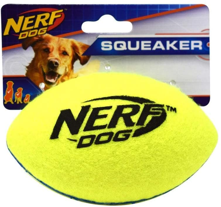 Nerf Dog Rubber Football Dog Toy with Interactive Squeaker, Lightweight, Durable and Water Resistant, 5 Inch Diameter for Medium/Large Breeds, Single Unit, Green/Blue, Model Number: 5342