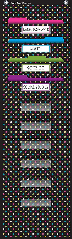 Teacher Created Resources Chalkboard Brights 10 Pocket File Storage Pocket Chart (20736), Black, 14 x 58 in