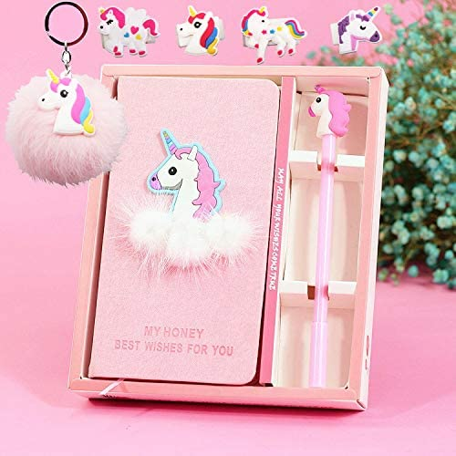 Unicorn Journals Gift for Girls Gel Pens Stationery Set Pendant Unicorn Key Ring-Lovely Birthday Pink Gifts for Girls of All Ages: 3 4 5 6 7 8 9