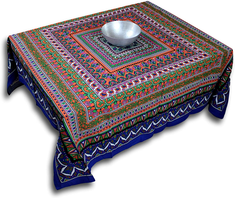 India Arts Handmade Cotton Geometric Mandala Floral Tablecloth Round Beach Sheet Beach Throw (Blue Orange, Square 70 x 70 inches)
