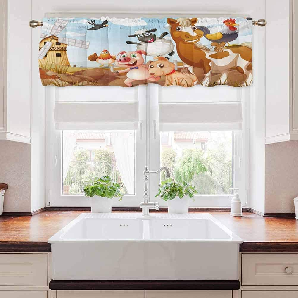 Kids Curtain Valances for Windows, Illustration of Animals in a Farm with Cloudy Sky and Windmill Art, 60