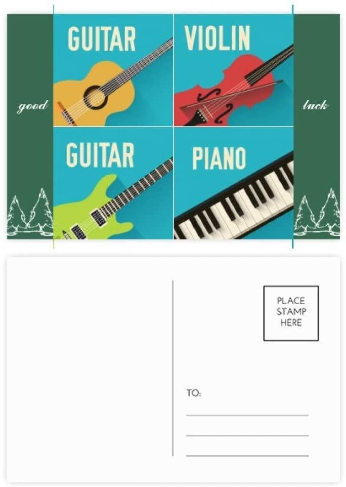 Guitar Violin Piano Combination Pattern Good Luck Postcard Set Card Mailing Side 20pcs