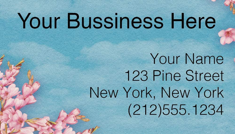 Design Your Own Business Cards from printing demand, Front Only, 100 Cards, Florals (Cherry Blossoms)
