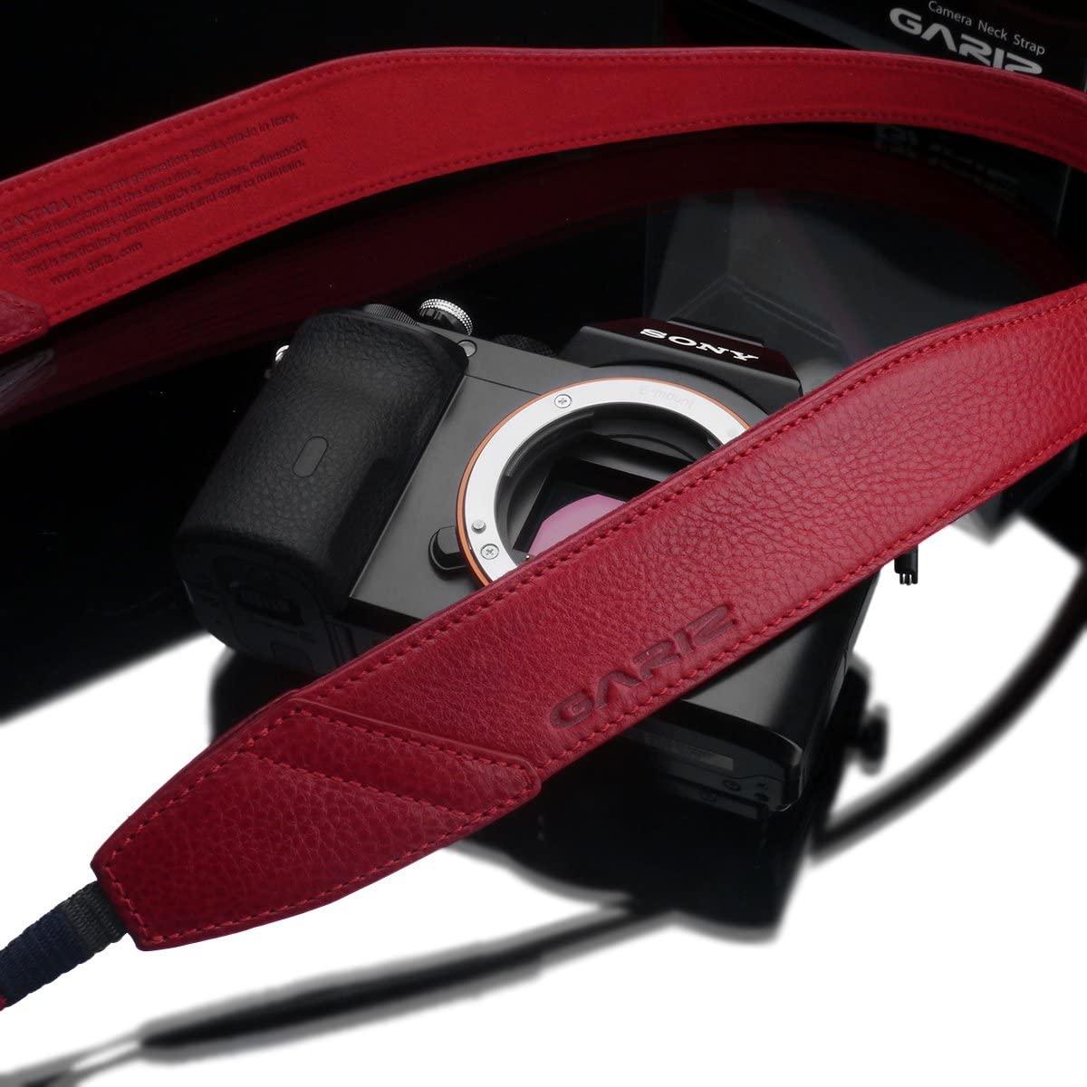 Gariz Italian Leather with Alcantara Version AT-DSLAR Neck Strap for Mirrorless Cameras, Red