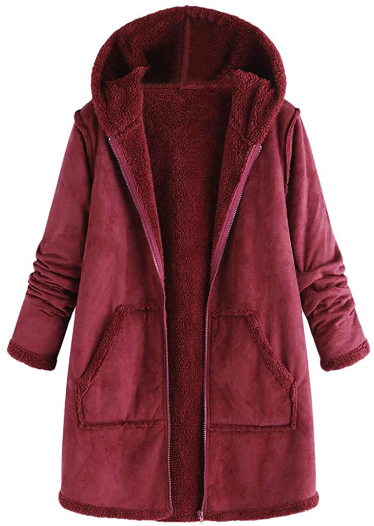 Hengshikeji Hooded Coats for Women Plus Size Fleece Winter Coat Solid Zipper Warm Jackets Casual Vintage Outerwear Overcoat