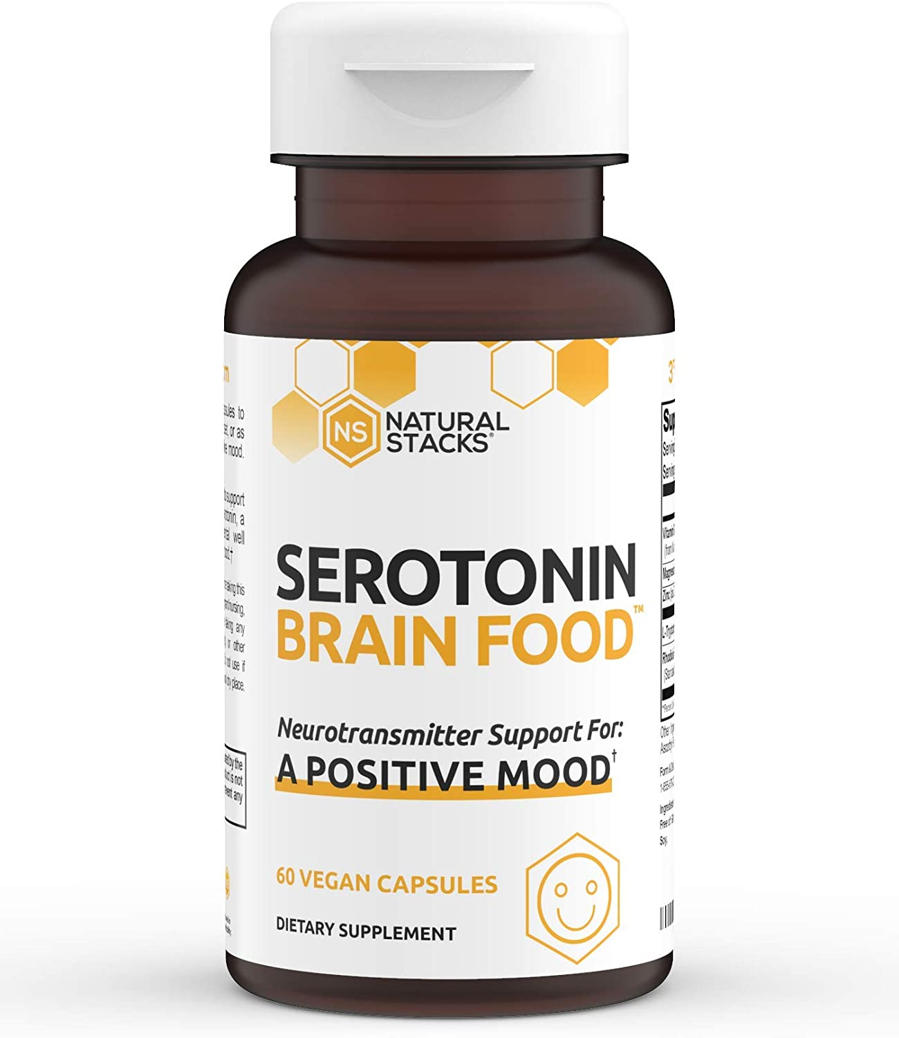 Natural Stacks Serotonin Supplement 60 ct. - Powerful Stress Relief and Mood Booster - for Men and Women - Brain Food Formula Enhances Serotonin Production