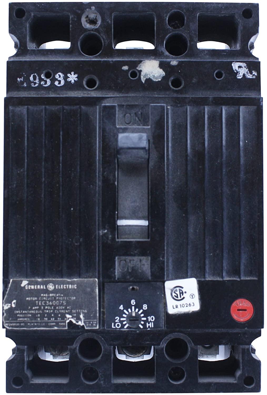 GE TEC36007S Mag-Break 3 Pole 7 Amp 600V Motor Protector Circuit Breaker