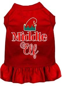 Mirage Pet Product Middle Elf Screen Print Dog Dress Red XS